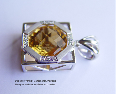 Using a round shaped citrine, top checker.